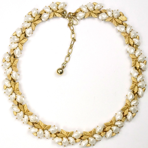 Trifari 'Alfred Philippe' 'Sorrento' Gold Leaves and Baby's Tooth Pearls Choker Necklace