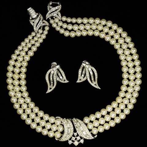 Trifari 'Alfred Philippe' Triple Stranded Pearls and Pave and Baguette Swirls Necklace and Screwback Earrings Set