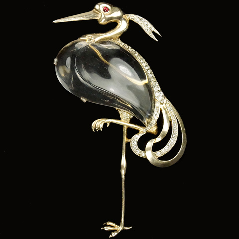 Trifari Sterling 'Alfred Philippe' Jelly Belly 'Great Blue Heron' Pin
