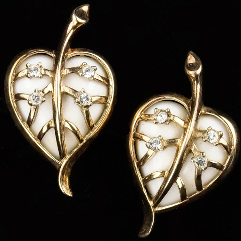 Trifari 'Alfred Philippe' White Jelly Belly Pierced Heart Shaped Leaf in Golden Cage Clip Earrings