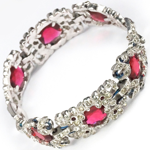 Trifari 'Alfred Philippe' Faceted Rubies with Pave and Enamel Scrolls and Flowers Bracelet
