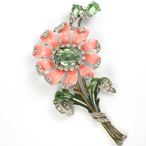 Trifari 'Alfred Philippe' Pink Daisy with Peridot Shoots Pin Clip