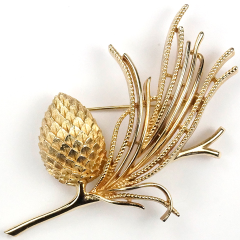 Trifari 'Alfred Philippe' 'Egrets' Golden Pinecone on Branch Pin