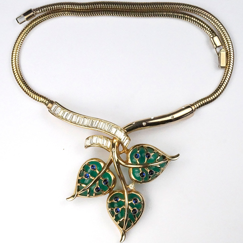 Trifari 'Alfred Philippe' Gold Baguettes Sapphire Cabochons and Triple Heart Shaped Emerald Jelly Belly Leaves Necklace