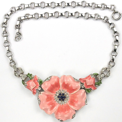 Trifari 'Alfred Philippe' Pink Enamelled Poppy Necklace