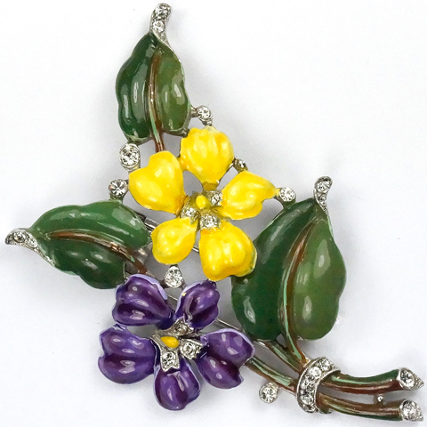 Trifari 'Alfred Philippe' Violet and Yellow Pansy Floral Spray Pin Clip