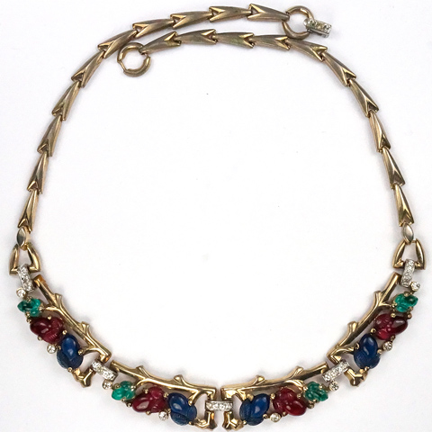 Trifari 'Alfred Philippe' Gold Branches and Tricolour Fruit Salads Four Element Choker Necklace