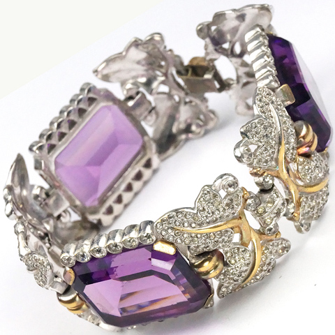 Trifari 'Alfred Philippe' Gold and Pave Leaves and Table Cut Amethysts Bracelet
