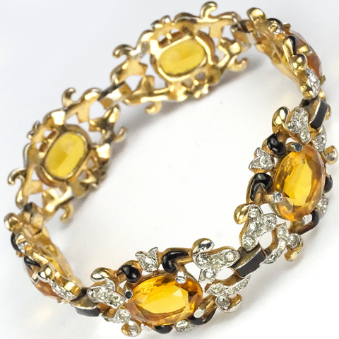 Trifari 'Alfred Philippe' Gold Citrine and Black Enamel Pave Scrolls Link Bracelet
