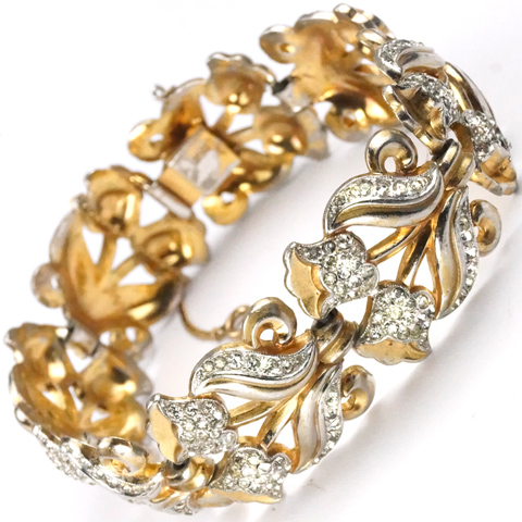 Trifari 'Alfred Philippe' Gold and Pave Bellflowers Bracelet