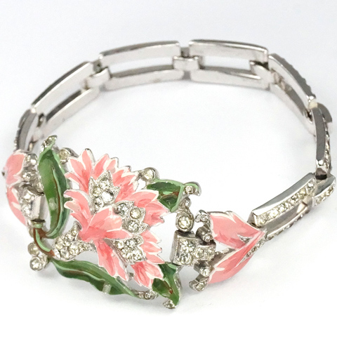 Trifari 'Alfred Philippe' Pave and Enamel Pink Carnation Bracelet