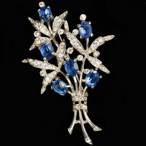 Trifari Sterling 'Alfred Philippe' Pave and Sapphire Flowers Pin