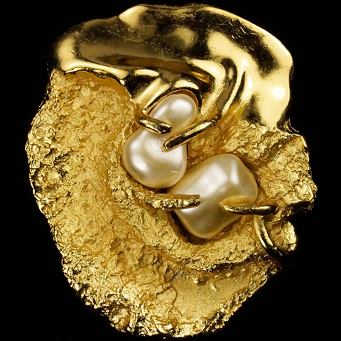 Trifari 'Jonathan Bailey' 'Sculpturesque' Gold and Pearl Nuggets Modernist Art Pin