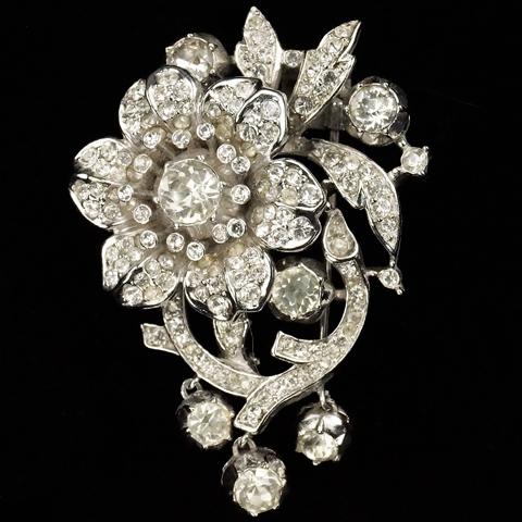 Trifari 'Alfred Philippe' Pave Rose on Branch with Three Pendant Buds Pin Clip