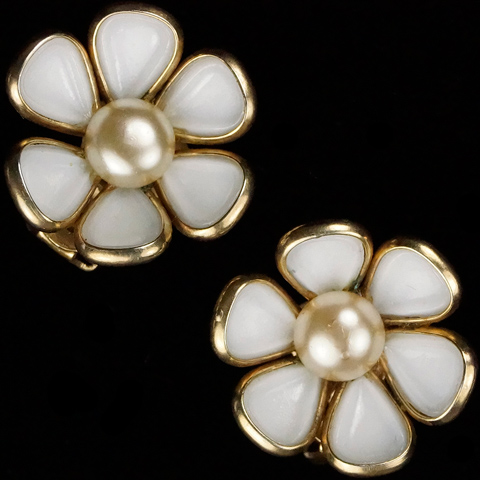 Trifari 'Alfred Philippe' White Poured Glass and Pearl Flower Clip Earrings