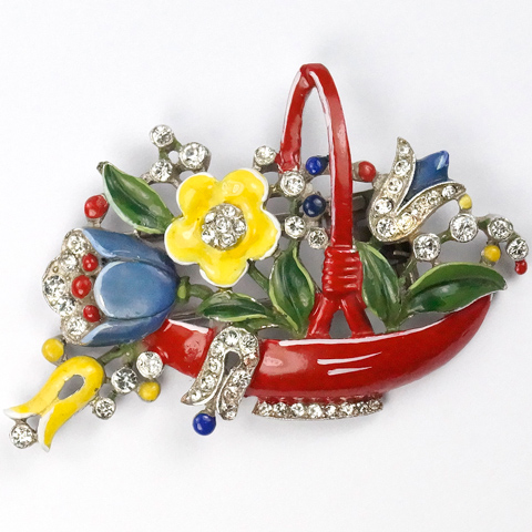 Trifari 'Alfred Philippe' Pave and Red Enamelled Flower Basket Pin Clip