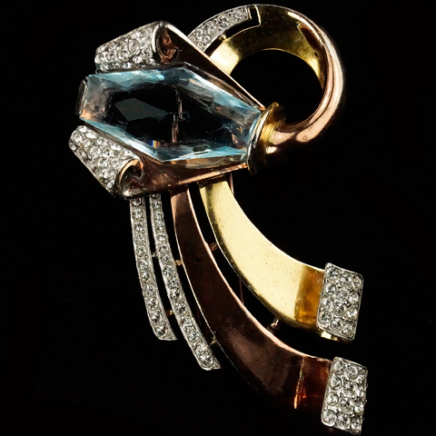 Trifari 'Alfred Philippe' Rose and Yellow Gold Deco Aquamarine and Pave Double Swirl Pin Clip