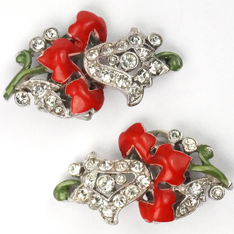 KTF Trifari 'Alfred Philippe' Pave Bellflower and Red and Green Enamel Flower Clip Earrings