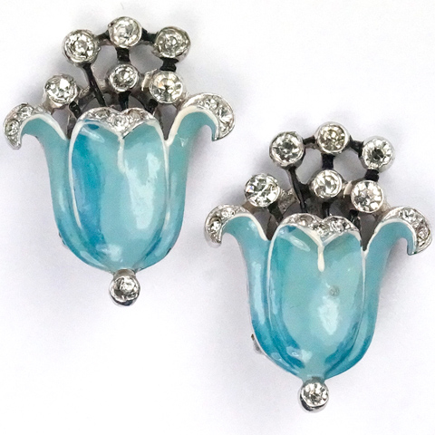 Trifari 'Alfred Philippe' Enamel and Rhinestone Flowering Blue Lily Clip Earrings