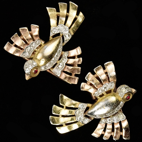 Trifari 'Alfred Philippe' Yellow and Rose Golden Birds in Flight Pair of Matching Pin Clips