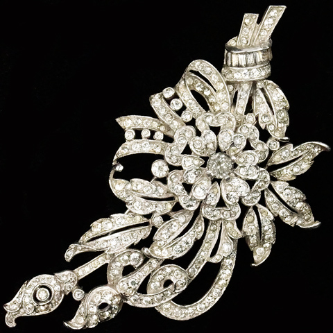 Trifari 'Alfred Philippe' Pave and Baguettes Floral Spray Pin Clip