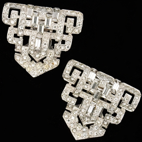 KTF Trifari 'Alfred Philippe' Pair of Pave and Baguettes Maze Pattern Deco Dress Clips