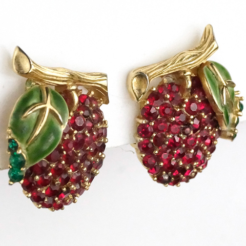 Trifari 'Alfred Philippe' Gold Ruby and Enamel Cherries on a Branch Clip Earrings