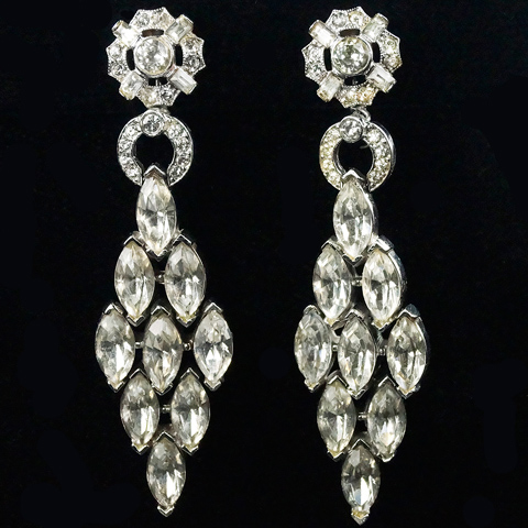 Trifari 'Alfred Philippe' Diamonds of Navettes Pendant Clip Earrings