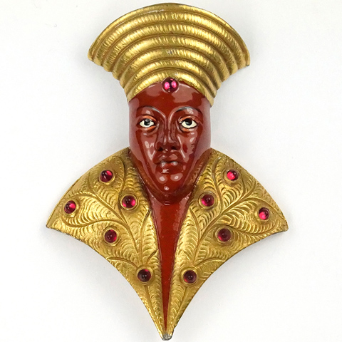 KTF Trifari 'Alfred Philippe' Gold Ruby Cabochons and Enamel Egyptian Pharaoh's Head Pin Clip
