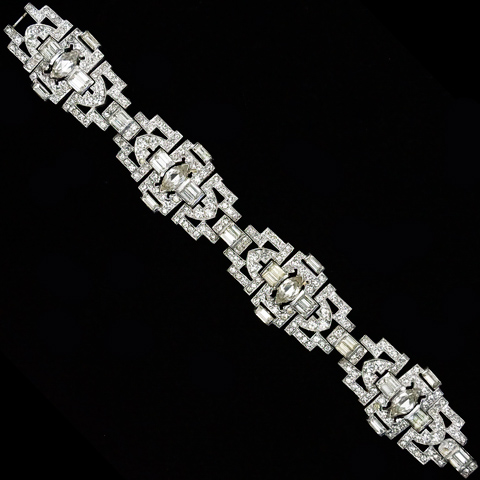 KTF Trifari 'Alfred Philippe' Pave Baguettes and Chatons 1930s Jewels of India Four Element Link Bracelet
