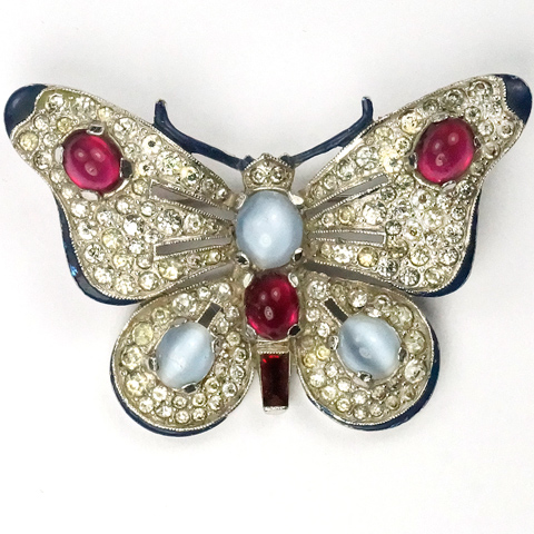 Trifari 'Alfred Philippe' Pave, Enamel, Blue Moonstone and Ruby Cabochons Butterfly Pin