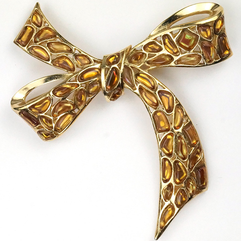 Trifari 'Modern Mosaics' Citrine and Topaz Poured Glass Bow Pin