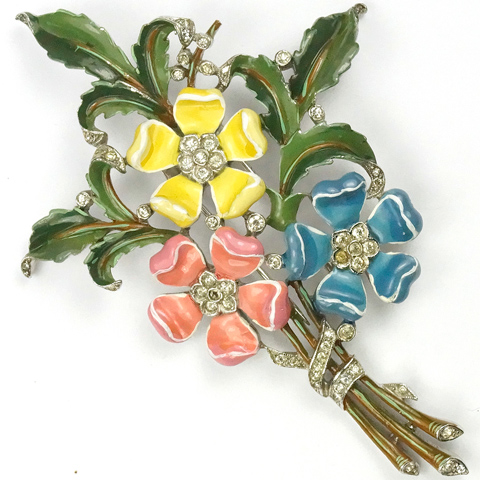 Trifari 'Alfred Philippe' Pink Yellow and Blue Tudor Roses Floral Spray Pin Clip