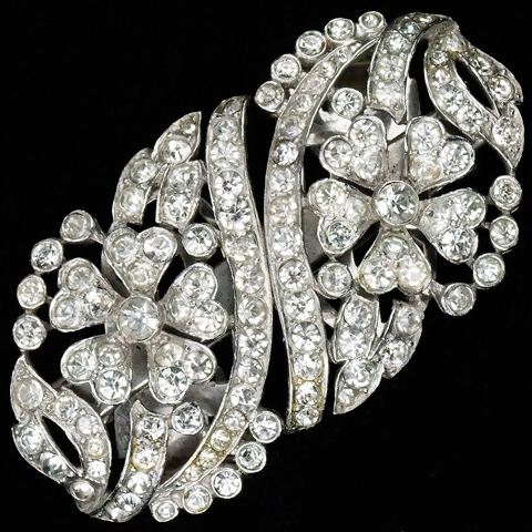 Trifari 'Alfred Philippe' Pave Flowers and Branches Pair of Dress Clips or Clipmate Pin