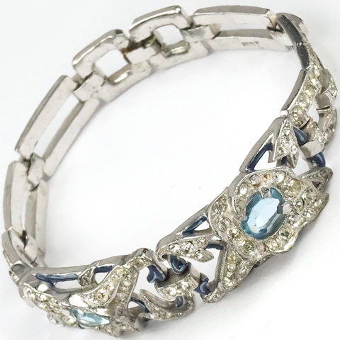 Trifari 'Alfred Spaney' Pave Bue Enamel and  Double Aquamarine Lily Bracelet