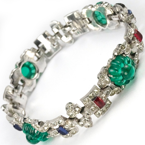 KTF Trifari 'Alfred Philippe' 'Sheherazade' 1930s Jewels of India Pave Emerald Fruit Salads Rubies and Sapphires Bracelet