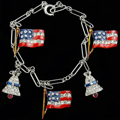 Trifari 'Alfred Philippe' WW2 US Patriotic Pave and Enamel Stars and Stripes and Liberty Bells Bracelet