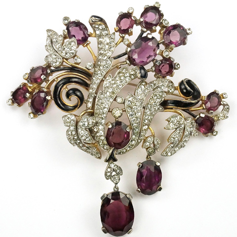 Trifari 'Alfred Philippe' Gold Black Enamel Pave Leaf Swirls and Pendant Amethysts Giant Floral Spray Pin
