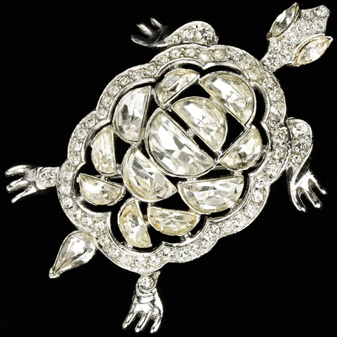 Trifari 'Alfred Philippe' Diamond Demilune Turtle Pin