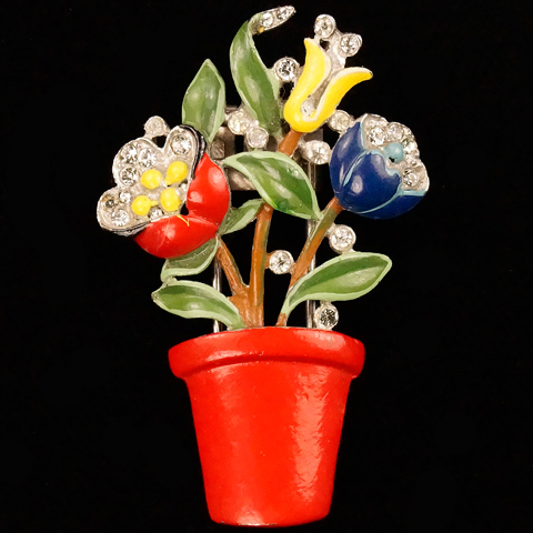 Trifari 'Alfred Philippe' Three Enamel Flowers in a Red Plant Pot Pin Clip