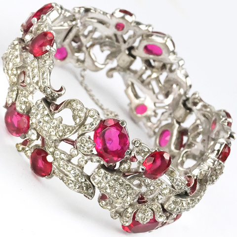 Trifari 'Alfred Philippe' Pave Enamel and Ruby Floral Bell Flower Bracelet