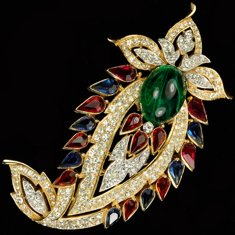 Trifari 'Alfred Philippe' 'Jewels of Fantasy' Jewels of India Pave Ruby Sapphires and Emerald Cabochon Floral Swirl Pin