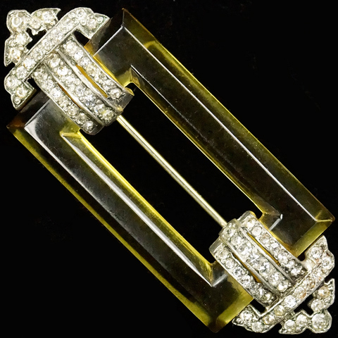 KTF Trifari 'Alfred Philippe' (unsigned) 'Jewels of Fantasy' Deco Pave and Applejuice Bakelite Bar Pin