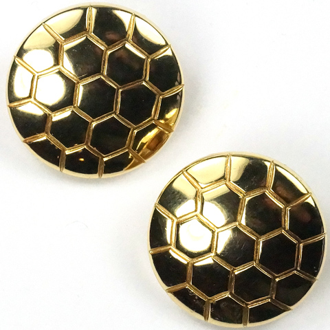 Trifari 'Alfred Philippe' Hexagonal Tesselated Golden Disc Clip Earrings
