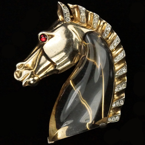 Trifari Sterling 'Alfred Philippe' Jelly Belly Horse Head Pin Clip