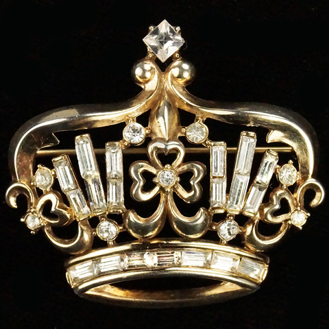 Trifari 'Alfred Philippe' Gold and Baguettes Royal Crown with Heart Shaped Clover Leaves Pin