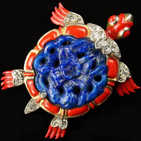 Trifari 'Alfred Philippe' Lapis Belly Ming Turtle Pin Clip