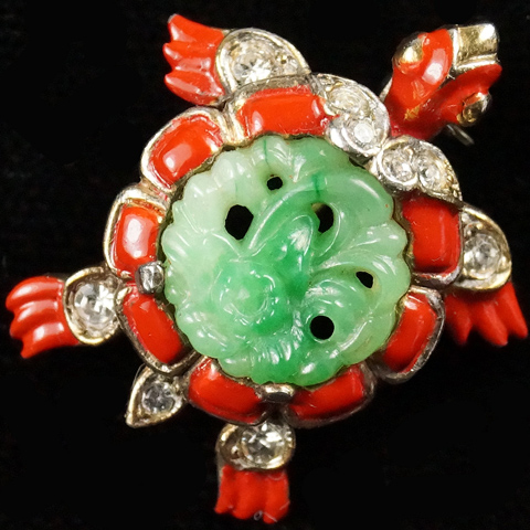 Trifari 'Alfred Philippe' Jade Belly Ming Turtle Scatter Pin