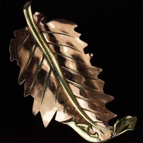 Trifari 'Alfred Philippe' Deco Two Colour Gold Curling Leaf Pin Clip