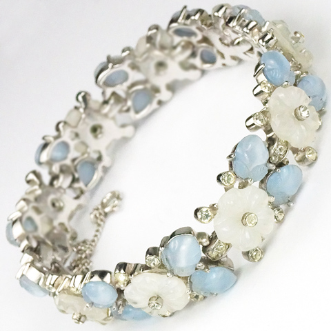 Trifari 'Alfred Philippe' 'Bois de Boulogne' Blue and White Pastel Fruit Salad Flowers Bracelet